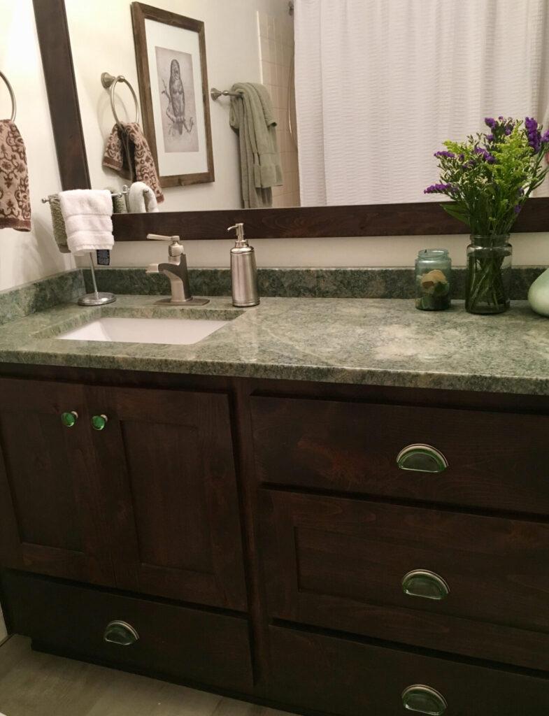 Bathroom Vanity 50% Slate on Beechwood 3inch frame glass handles and knobs