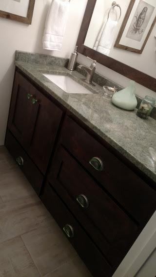 Bathroom Vanity 50% Slate on Beechwood 3inch frame glass handles and knobs2