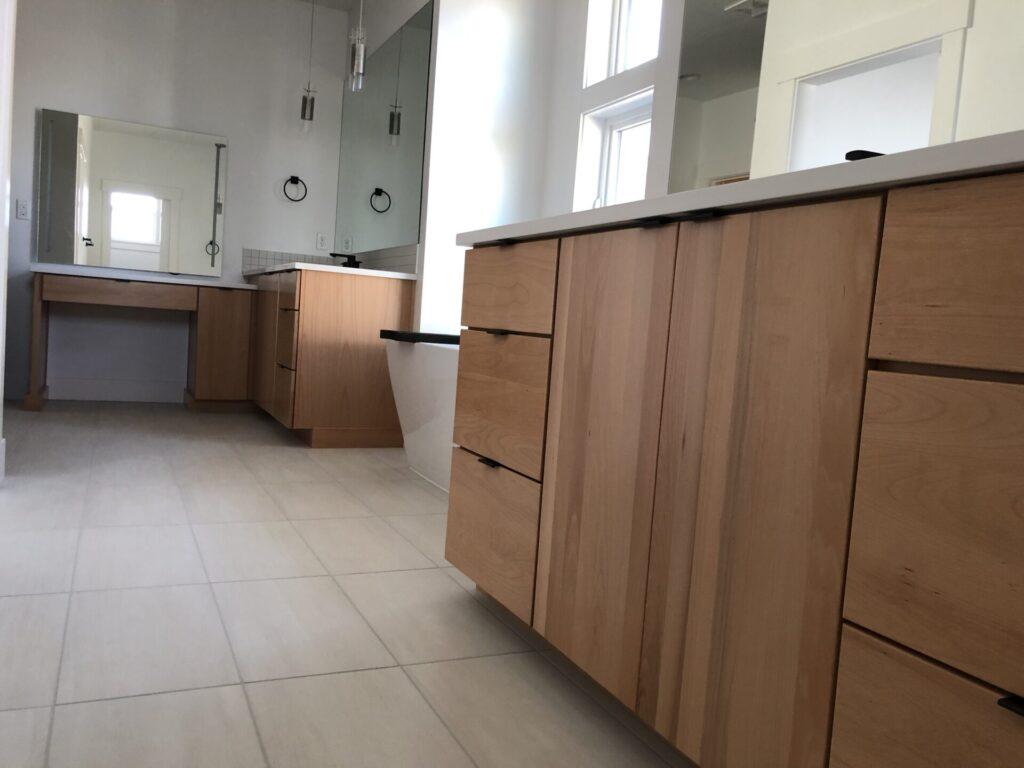 Clear Beechwood Slab Doors Full Overlay Audrey Master Bath