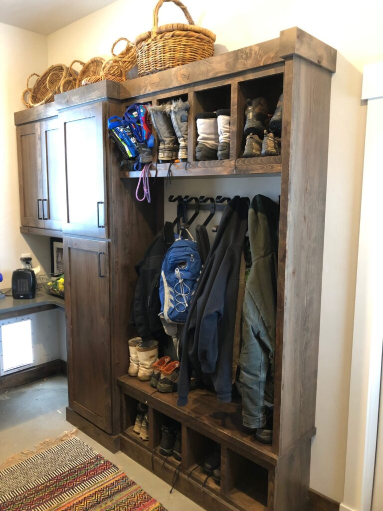 Custom Mudroom Rustic Beechwood with custom stain by Sam