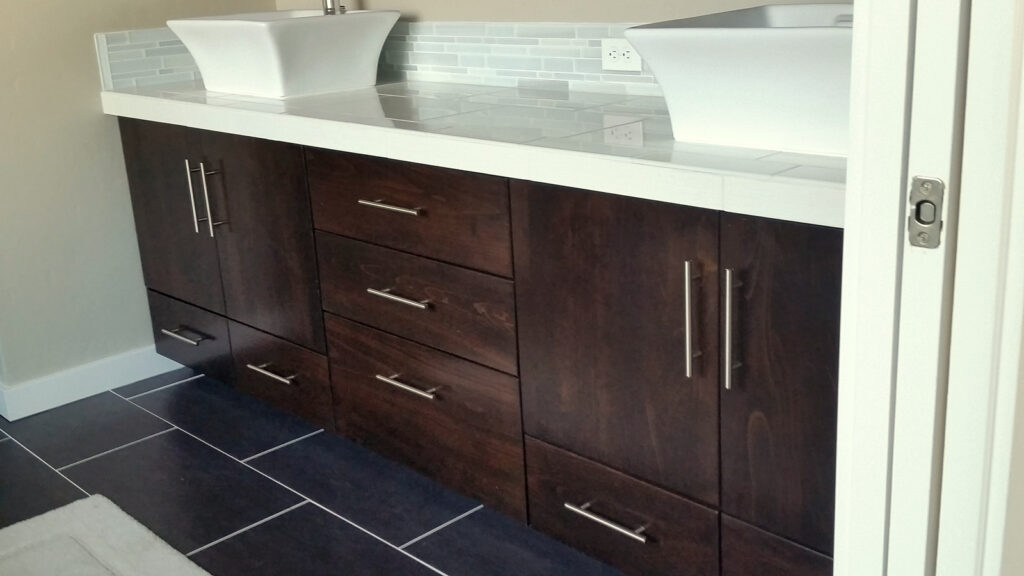 Dark Stained Vanity Modern Slab by Molly