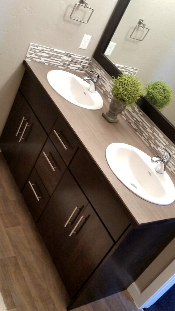 Dark Stained Vanity Modern Slab by Molly2