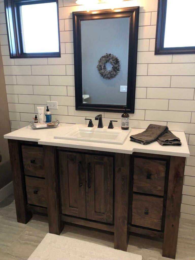 Rustic Beechwood Custom Stain Powder Vanity Sam